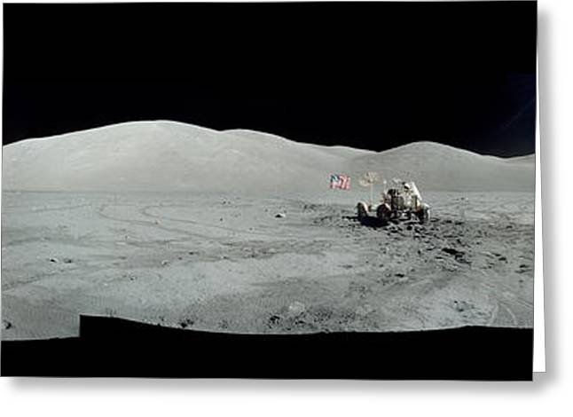Interstellar Space Photographs Greeting Cards - Moon Surface from Apollo mission Greeting Card by Celestial Images