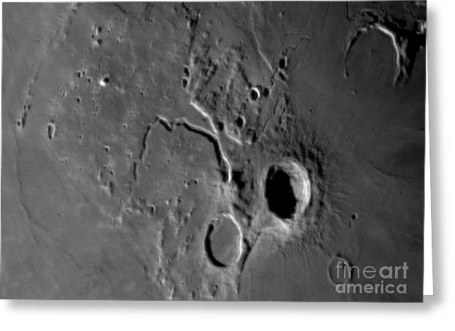 Moon Surface Greeting Cards - Moon Surface With Lunar Craters Greeting Card by John Chumack