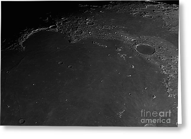 Mare Imbrium Greeting Cards - Moon Surface With Mare Imbrium Greeting Card by John Chumack