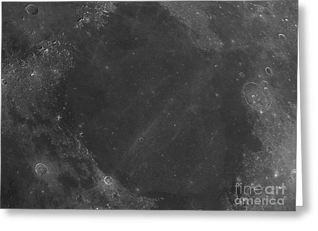 Mare Serenitatis Greeting Cards - Moon Surface With Sea Of Serenity Greeting Card by John Chumack