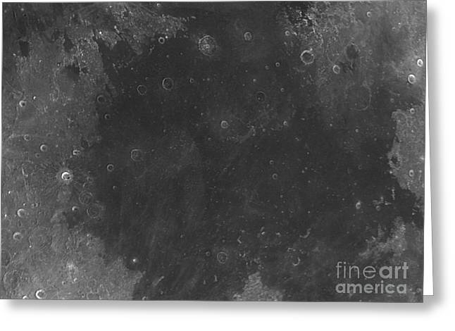 Sea Of Tranquility Greeting Cards - Moon Surface With Sea Of Tranquility Greeting Card by John Chumack