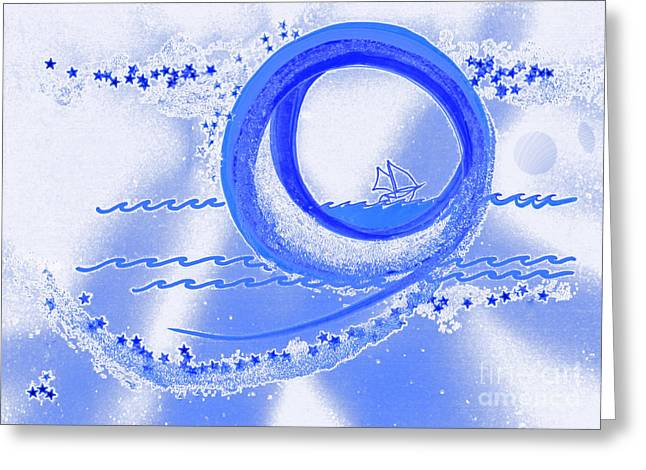 Moon Surfing 1 by jrr Greeting Card by First Star Art