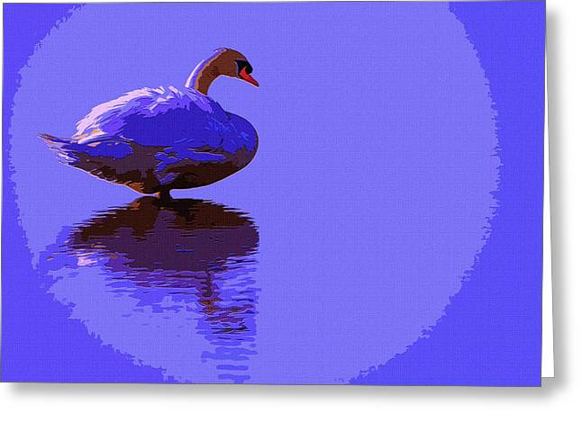 Luna Mixed Media Greeting Cards - Swan Moon 2 Greeting Card by Brian Stevens