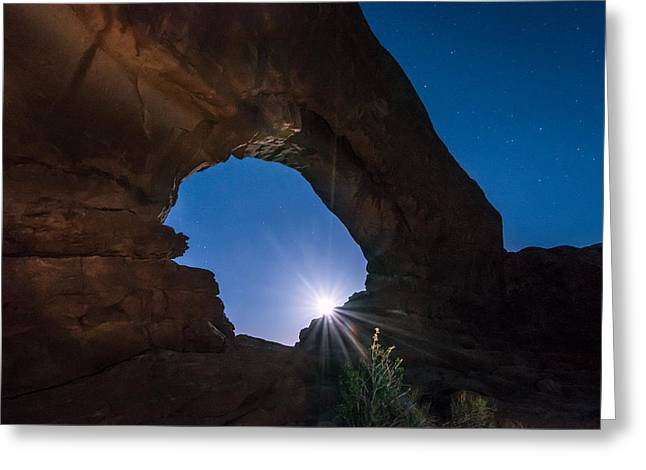 Moon Through Arches Windows Greeting Card by Michael J Bauer