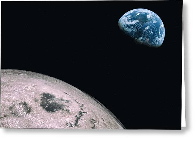 Planet Earth Greeting Cards - Moon to Earth Greeting Card by Brady Barrineau