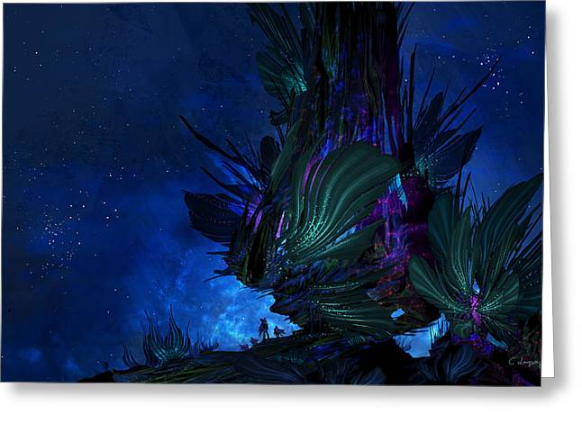 Moon Tree Hills Greeting Card by Cassiopeia Art