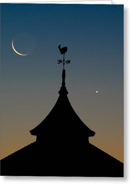Wind Vane Greeting Cards - Moon whale Venus. Greeting Card by Steve Myrick