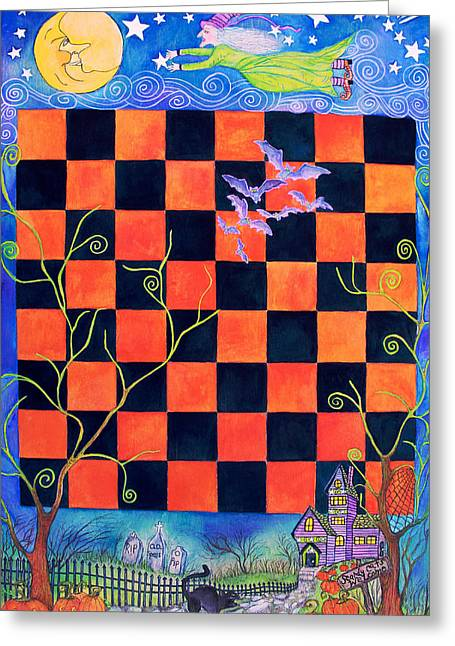Witch Halloween Cat Wicca Greeting Cards - Flight of the Moon Witch Checkerboard Greeting Card by Janet Immordino