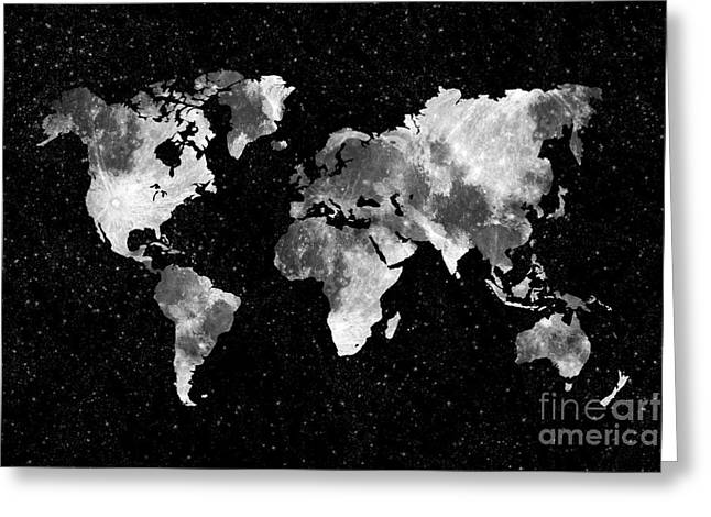 Planet Map Greeting Cards - Moon World map Greeting Card by Delphimages Photo Creations