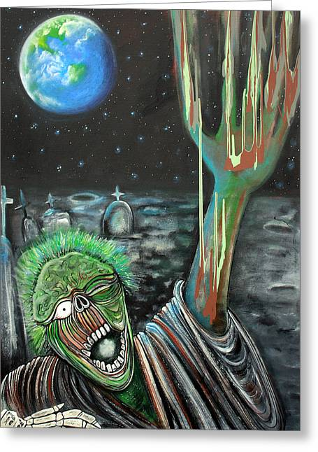 Scifi Paintings Greeting Cards - Moon Zombie Greeting Card by Laura Barbosa