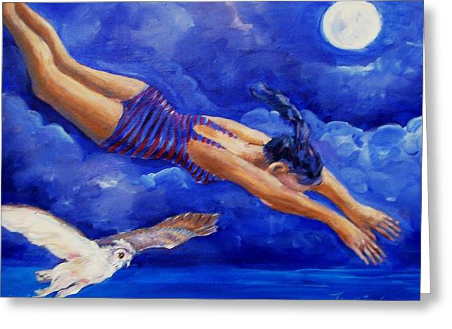 Mage Greeting Cards - Moonbather  Greeting Card by Trudi Doyle