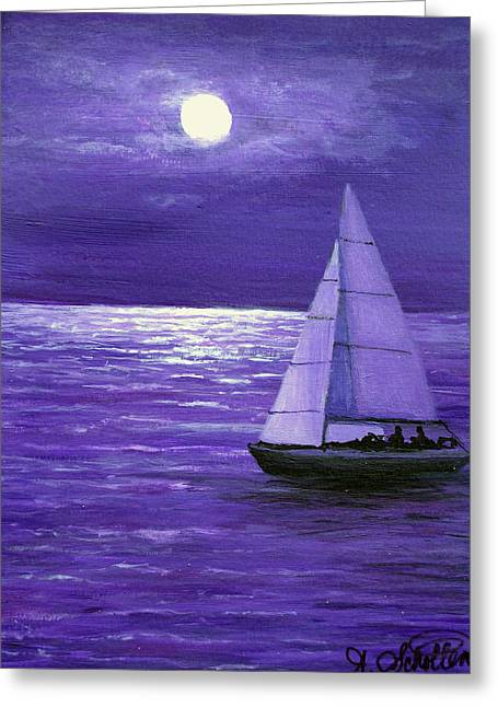Sailing At Night Greeting Cards - Moonbeam Ripples Across the Tide Greeting Card by Amy Scholten