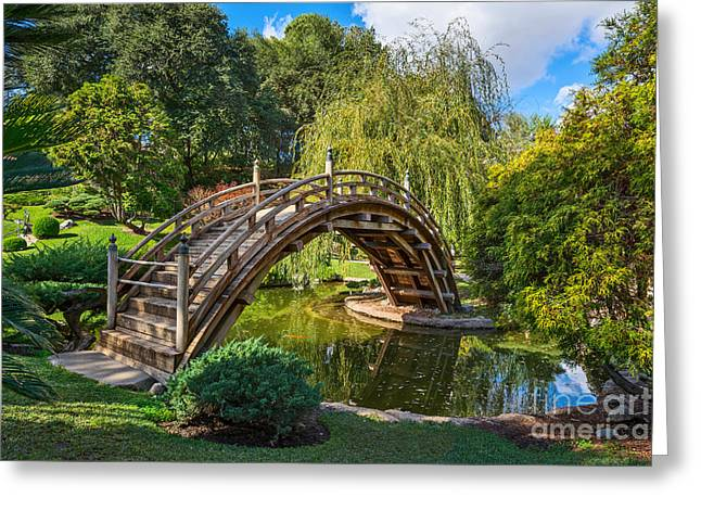 Willow Lake Greeting Cards - Moonbridge - The beautifully renovated Japanese Gardens at the Huntington Library. Greeting Card by Jamie Pham