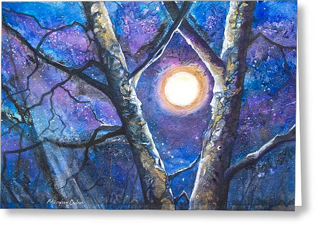 Patricia Mixed Media Greeting Cards - Moondance II Greeting Card by Patricia Allingham Carlson