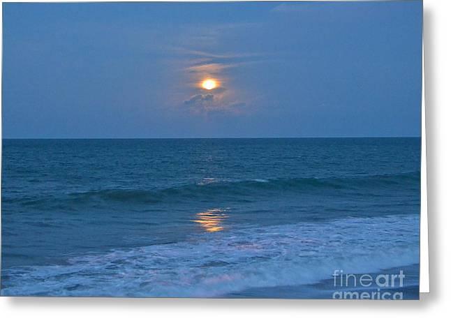 Sea Moon Full Moon Greeting Cards - Moonglow Greeting Card by Carol  Bradley