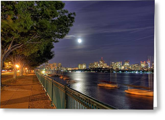 Moonglow Greeting Cards - Moonglow Over Boston Greeting Card by Joann Vitali