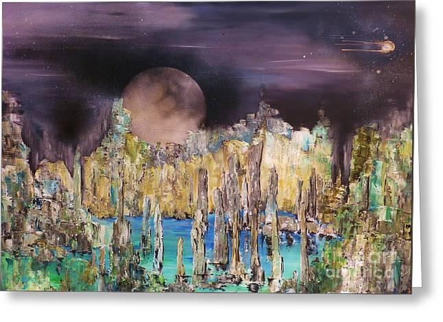 Moonhenge Greeting Card by Kaye Miller-Dewing