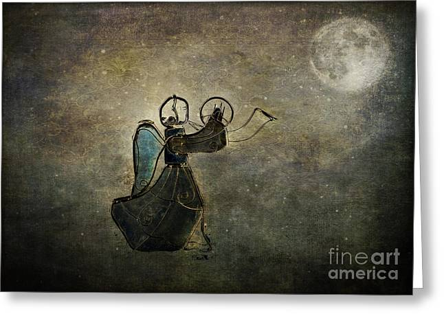 Night Angel Greeting Cards - Moonlight Angel Greeting Card by Dianne Phelps