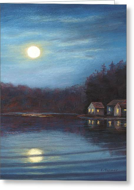 Moonlight At Beaver Lake Greeting Card by Elaine Farmer