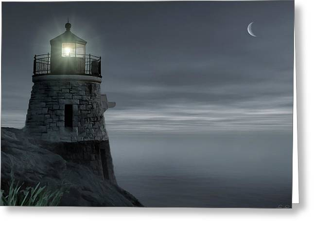 New England Coast Greeting Cards - Moonlight at Castle hill Greeting Card by Lourry Legarde