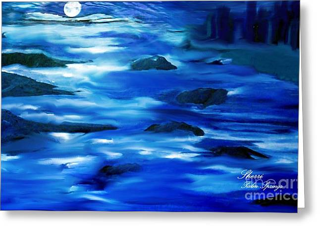 - Moonlight At The Bay Of The City Greeting Card by Sherri  Of Palm Springs
