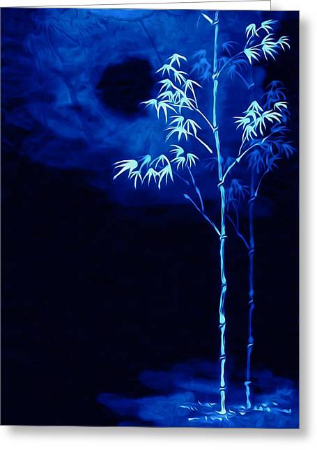 Beauty In Nature Paintings Greeting Cards - Moonlight Bamboo Greeting Card by Lanjee Chee