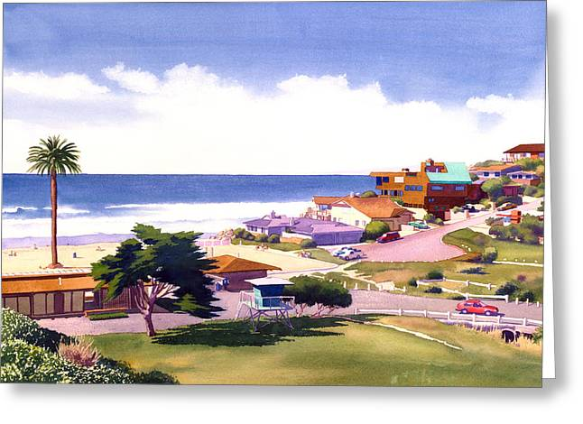 Moonlight Beach And Cypress Greeting Card by Mary Helmreich