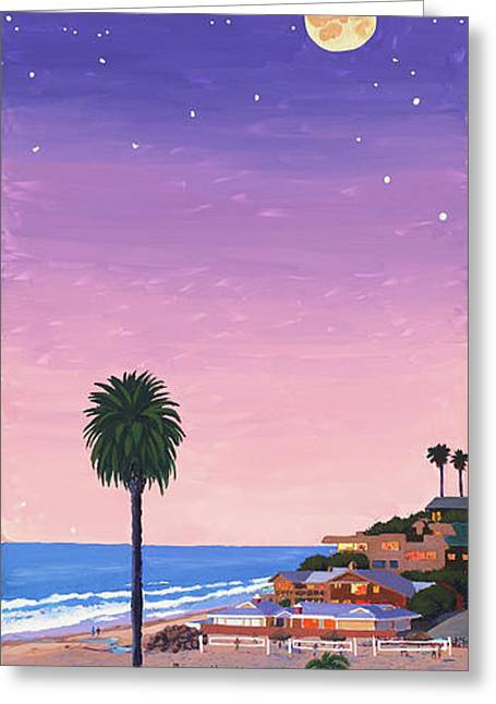 Volley Greeting Cards - Moonlight Beach at Dusk Greeting Card by Mary Helmreich