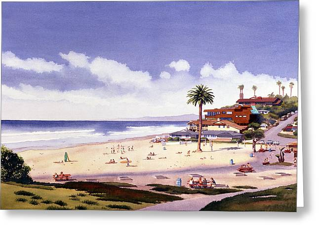 Best Sellers -  - California Beach Greeting Cards - Moonlight Beach Encinitas Greeting Card by Mary Helmreich