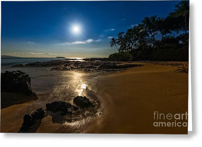 Moonrise Greeting Cards - Moonlight Beach Greeting Card by Jamie Pham
