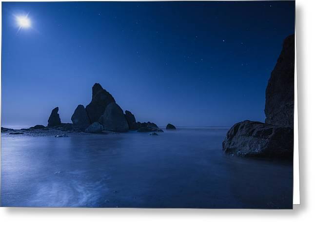 Moonlit Night Greeting Cards - Moonlight Blue Greeting Card by Gene Garnace