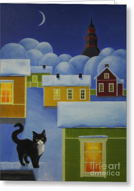 Salo Greeting Cards - Moonlight Cat Greeting Card by Veikko Suikkanen