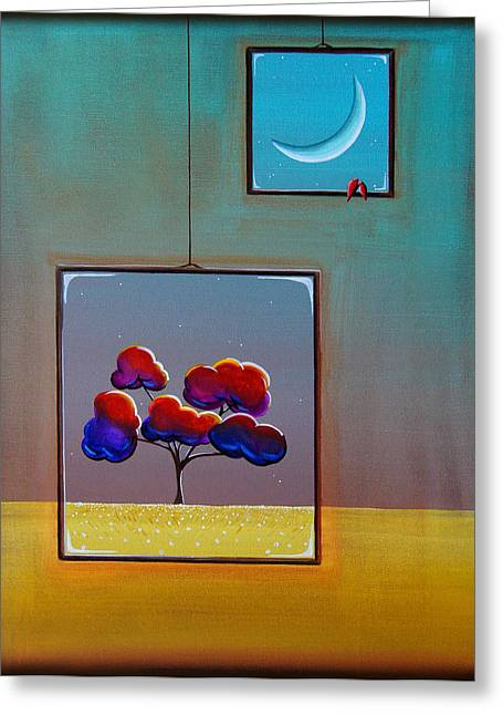 Window Greeting Cards - Moonlight Greeting Card by Cindy Thornton