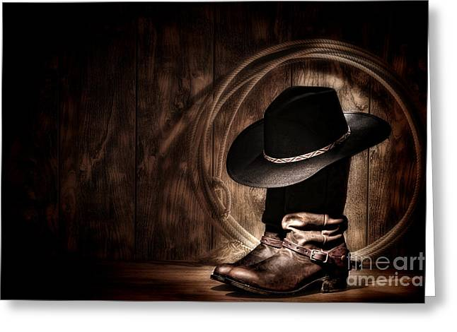 Western Greeting Cards - Moonlight Cowboy Greeting Card by Olivier Le Queinec