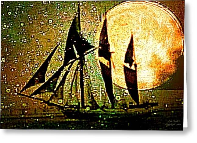 Best Sailing Photos Greeting Cards - Moonlight crossing III Greeting Card by Larry Lamb