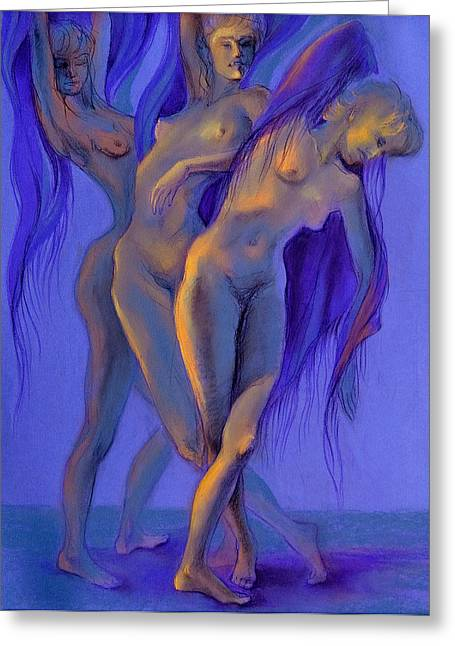 Violet Pastels Greeting Cards - Moonlight Dance Greeting Card by Lucy Morar