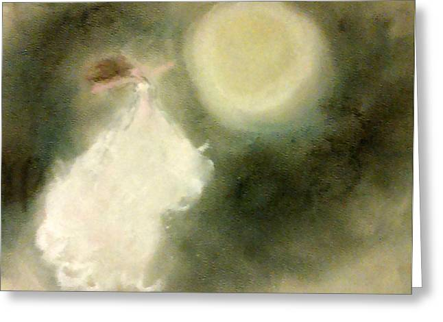 Flowing Pastels Greeting Cards - Moonlight Dancer Greeting Card by Jennie Hallbrown