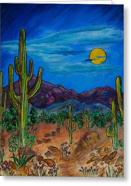 Desert Pyrography Greeting Cards - Moonlight Desert Nite Greeting Card by Mike Holder