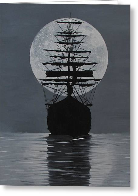 Sea Moon Full Moon Greeting Cards - Moonlight Desires Greeting Card by Alex Banman