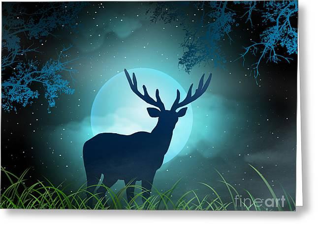 Moonlight Mixed Media Greeting Cards - Moonlight Elk Greeting Card by Bedros Awak