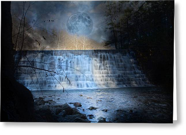 Mystical Landscape Greeting Cards - Moonlight Falls Greeting Card by Betsy C  Knapp
