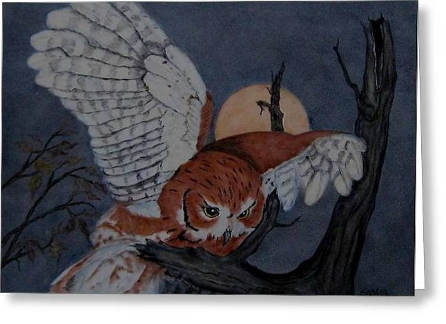 Moon Ceramics Greeting Cards - Moonlight Flight Greeting Card by Sandra Maddox