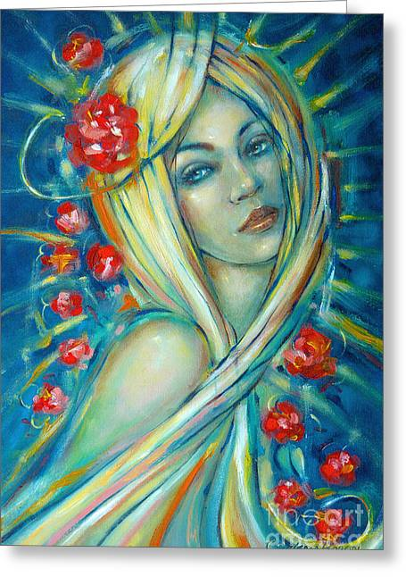Women Greeting Cards - Moonlight Flowers 030311 Greeting Card by Selena Boron
