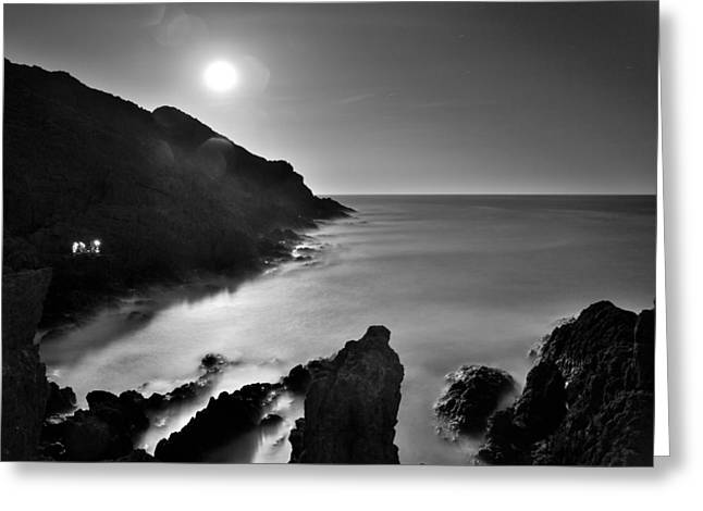 Mono Greeting Cards - Moonlight Greeting Card by Guido Montanes Castillo