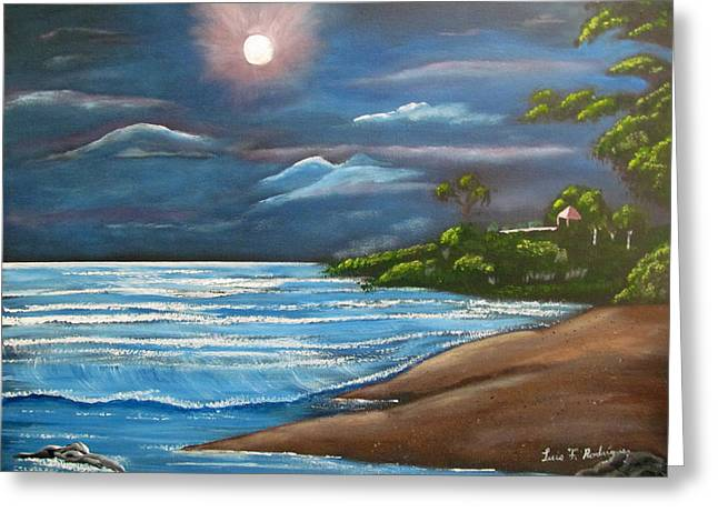 Rincon Paintings Greeting Cards - Moonlight In Rincon II Greeting Card by Luis F Rodriguez