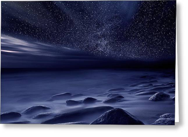 Ocean Moods Greeting Cards - Moonlight Greeting Card by Jorge Maia
