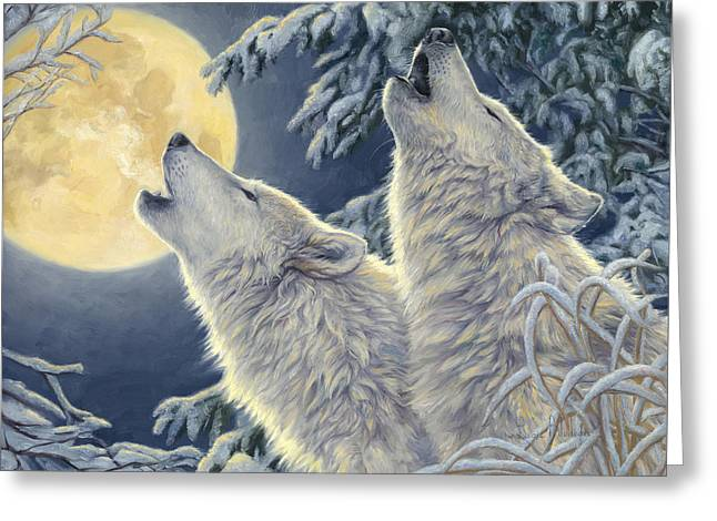 Snowfall Greeting Cards - Moonlight Greeting Card by Lucie Bilodeau
