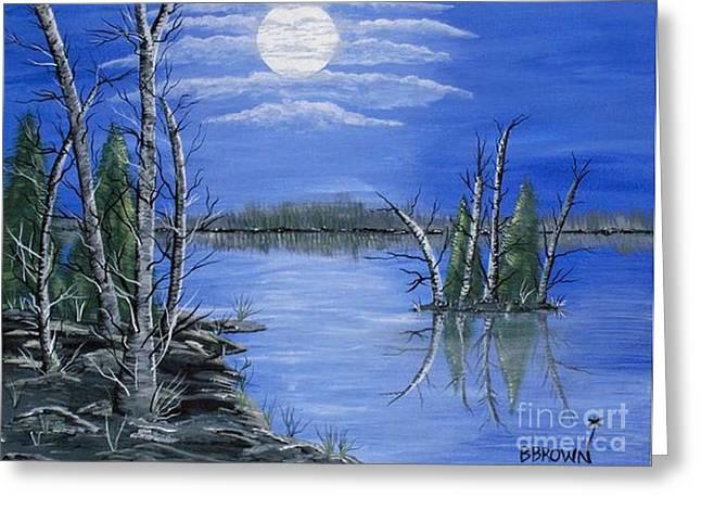 Brenda Brown Greeting Cards - Moonlight Mist Greeting Card by Brenda Brown