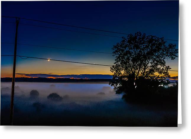 Waxing Crescent Greeting Cards - Moonlight Mist Greeting Card by Randy Scherkenbach