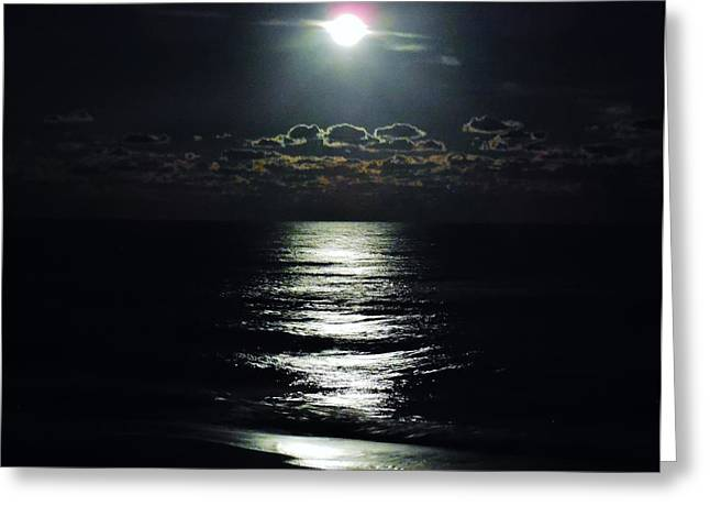 Sea Moon Full Moon Greeting Cards - Moonlight Moonshine 2 11/07 Greeting Card by Mark Lemmon